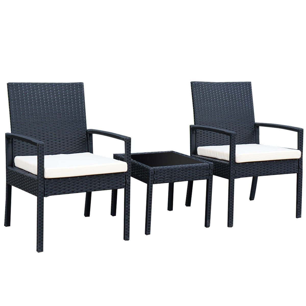 Tangkula 3 Piece Cushioned Outdoor Rattan Patio Furniture Set