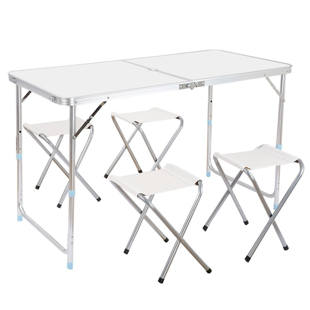 Finether portable adjustable height folding table with 4 - Camping table adjustable height ...